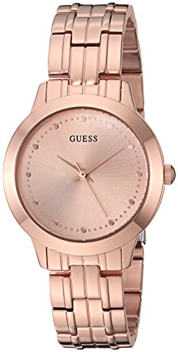 GUESS Classic Slim Rose Gold-Tone Stainless Bracelet Watch. Color: Rose Gold-Tone (Model: U0989L3)