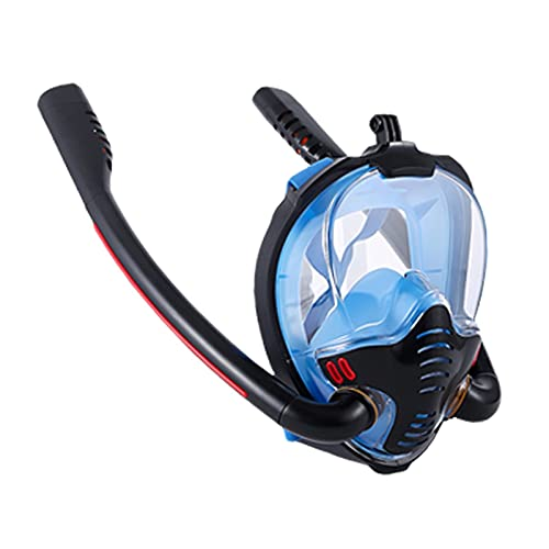 AWJ Máscara de esnórquel, Máscara de esnórquel Máscara de Buceo de Tubo Doble Adultos Máscara de natación para niños Buceo Aparato de respiración subacuático autónomo Vista panorámica ampli