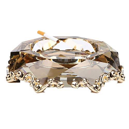 YAeele Gran cenicero de Metal Cristal Oficina Cubo de Almacenamiento de la Sala de Almacenamiento Caja de Regalo Inicio (Color: Oro, tamaño: 20 * 20 * 5cm / 8 * 8 * 2 Pulgadas)