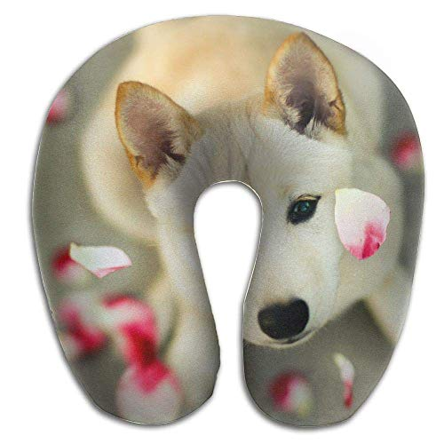 Rghkjlp Neck Pillow Dog Face Picture Travel U-Shaped Pillow Soft Memory Neck Support for Train Airplane Sleeping