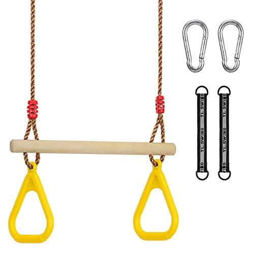Columpio multifunción para niños de Proarms, de madera, con anillas de gimnasia de plástico para colgar, soporta hasta 120 kg