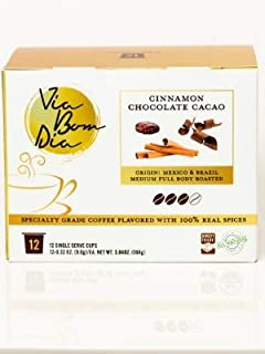 NATURALLY FLAVORED ORGANIC K-CUP COFFEE PODS | Cinnamon Chocolate | 12-PK Box for Single-Serve Keurig Machines | Specialty gourmet coffee + cacao + ci