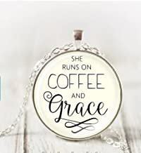 Large She Runs On Coffee And Grace Necklace, Christian Pendant Necklace Scripture Christian Necklace Inspirational Gift