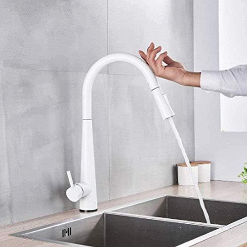 Grifo de cocina blanco Grifos mezcladores de cocina extraíbles blancos Grifos mezcladores de modo de pulverización de flujo de sensor inteligente Blanco