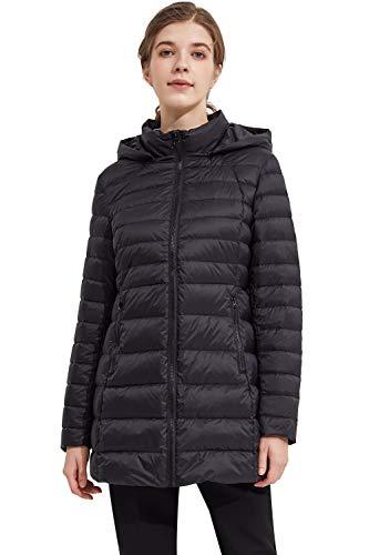 Orolay Abrigo de Mujer de Capa Gruesa Brillante Parka Chaqueta con Capucha Al Aire Libre Cuello de Soporte Negro X-Large