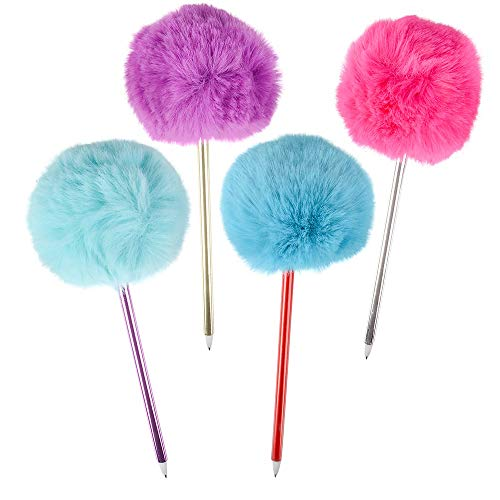 6 Pack Pom Pom Pens Cute Faux Fur 3.5' Pom Poms and 1 Vortex Eraser