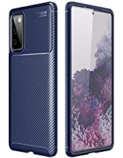 BRAND SET Cover per Samsung Galaxy S20 FE/S20 Lite Ultrasottile Silicone Protettiva Cover in Fibra di Carbonio Soft Rubber Custodia Antiurto Antiscivolo Case per Galaxy S20 Fan Edition/S20 Lite(Blu)