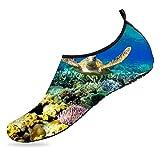 BEOT 3D Printed Water Sports Shoes Barefoot Quick-Dry Deep Sea Turtles Aqua Yoga Socks for Men Women 6.5-7.5 US Women / 5.5-6.5 M US Men