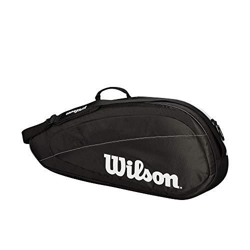 Wilson Tennisrucksack Fed Team, Bis zu 2 Schläger, schwarz/weiß, WRZ834895