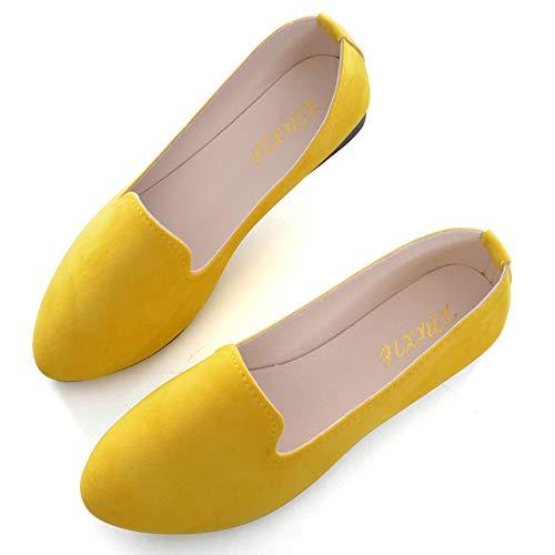 TN TANGNEST Slduv7 Women Pointed Comfortable Flat Ballet Shoes Yellow 43(9.5)