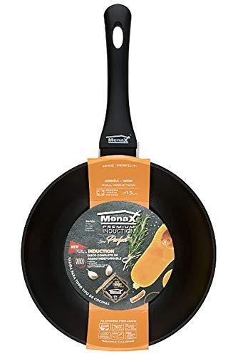 Menax Perfect - Padella da Wok in Alluminio Forgiato con Manico Soft Touch - Full Induzione - Nero - Ø 20 cm