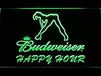 Budweiser Sexy Dancer Happy Hour Bar LED看板 ネオンサイン ライト 電飾 広告用標識 W40cm x H30cm グリーン