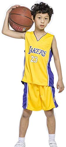 Zxwzzz Sin Mangas Alero De Baloncesto Uniforme De Baloncesto Niños Conjunto De Baloncesto De Verano Jersey NBA Lakers No.23 James Fan Edition Classic (Color : Yellow, Size : Large)
