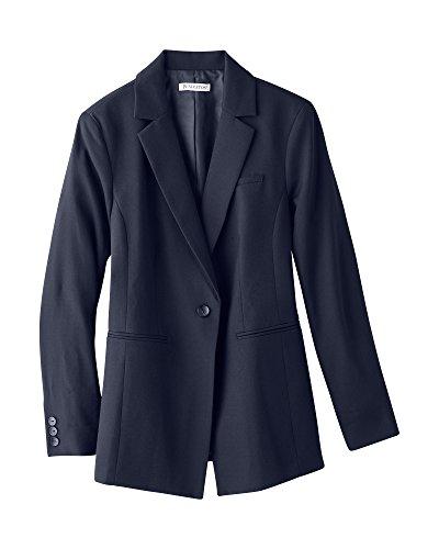 Pendleton Women's Petite One Button Wool Jacket, Midnight Navy Gabardine, 12P
