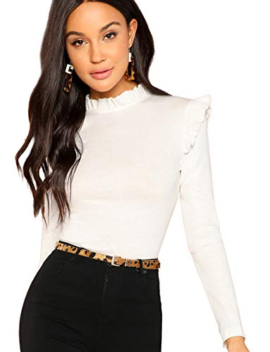Romwe Women's Stand Collar Slim Fit Frilled Ruffles Shoulder Solid Keyhole Blouse Top White M