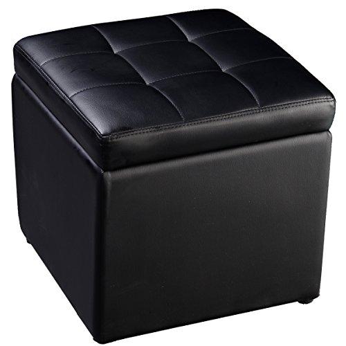 COSTWAY Sitzhocker mit Stauraum, Sitzwürfel aus PU-Leder, Sitzbox belastbar bis 300kg, Polsterhocker mit Deckel, Aufbewahrungsbox 40x40x40cm, Sitztruhe Farbwahl (Schwarz)