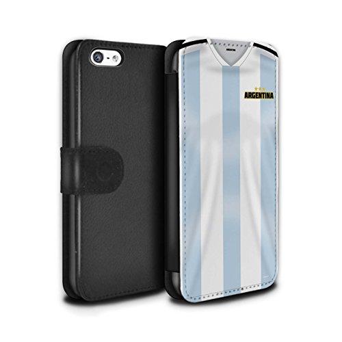 Handy Hülle Tasche kompatibel mit Apple iPhone 5C Weltmeisterschaft 2018 Fußball Trikot Argentinien/Argentinier Flip PU Leder Case Cover
