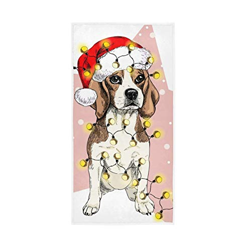 YUELAI Bath Towel Hand Towel Highly Absorbent Towels for Bathroom Shower 30 x 15 Inch Santa Hat Lights Garland Dog Snow