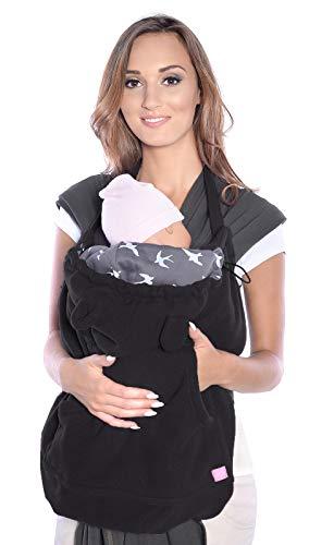 Mija - Tragecover, Universal Bezug für Baby Carrier/Tragetücher/Cape 4023 (Schwarz/mit Vögeln)
