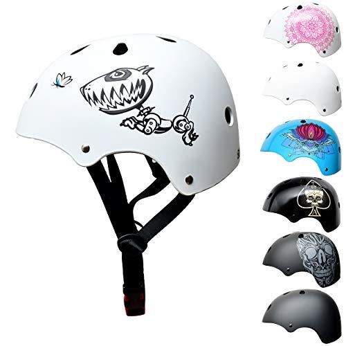 Skullcap BMX Helm - Skaterhelm - Fahrradhelm - Herren Damen Jungs & Kinderhelm, Gr. S (53 - 55 cm), lustiger Hund Robodog