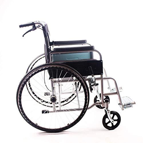 PAP Aleación de Aluminio para Discapacitados Silla de Ruedas Plegado Ultraligero Portátil, Ultraligero Silla de Ruedas Antigua Viaje de Mano Empuje Scooter Inflable Gratis, Negro, a