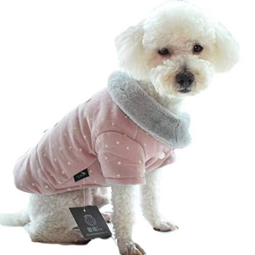 Winter jas voor kleine middelgrote honden bedrukte wollen jas puppy gilet warm coat vest huisdier kleding comfortabele vaste dikke hondenmantel katoen pullover verdikte, Small, roze