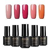 ROSALIND color nude UV esmalte en gel para uñas semi-permanente Manicura para uso personal y profesional Top coat Base coat 5 Botellas 7ml