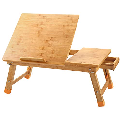 Laptop Desk Nnewvante Table Adjustable 100% Bamboo Foldable Breakfast Serving Bed Tray w' Tilting Top Drawer