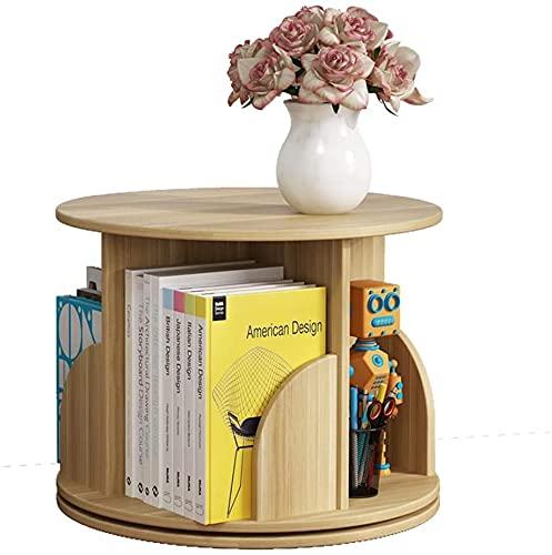MAMINGBO Libros Carpeta Rotación Arte de Rotación Escritorio Escritorio Organizador de madera Librería libre Estante de almacenamiento Estante de exhibición para la decoración del hogar Oficina decora