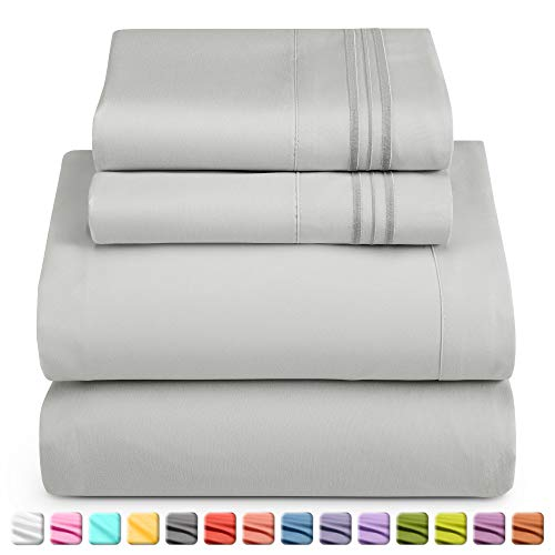 Nestl Luxury Queen Sheet Set - 4 Piece Extra Soft 1800 Microfiber-Deep Pocket Bed Sheets with Fitted Sheet, Flat Sheet, 2 Pillow Cases-Breathable, Hotel Grade Comfort and Softness - Silver Gray
