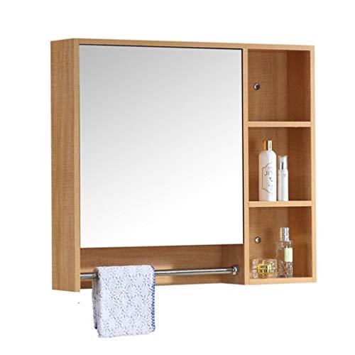 Spiegelkast met verlichting wandspiegelkast opbergvak badkamerspiegel massief houten spiegelkast