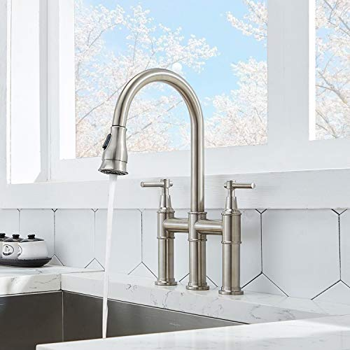 SHACO Modern Commercial Two Handle Solid Brass Pull Down Brushed Nickel Bridge Kitchen Faucet,3 Hole Traditional Country Heritage Faucets for Kitchen Sinks with Pull Down Sprayer