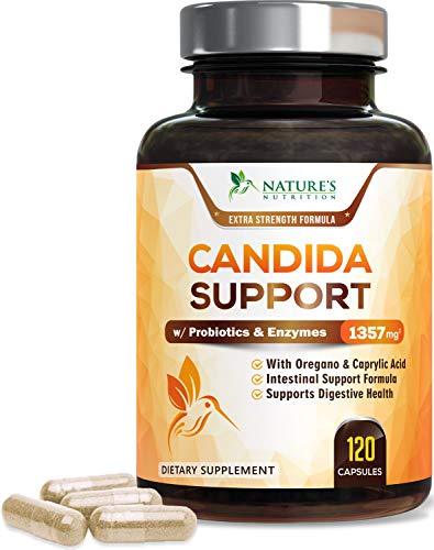 Candida Cleanse Extra Strength with Probiotics 1357mg - Intestinal Flora Support - Made in USA - Candida Support Complex with Oregano, Black Walnut, Caprylic Acid for Women and Men - 60 Capsules