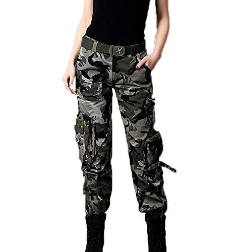 huateng Pantalones de Carga de Estilo de Novio de múltiples Bolsillos para Mujer, Pantalones Militares de Combate multifunción para Acampar al Aire Libre