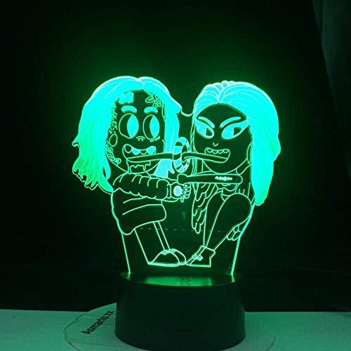 Luz de ilusión 3D Luz de noche LED Rapero 6Ix9Ine Personaje famoso Regalos populares Decoración de fiesta familiar Lámpara de 16 colores Regalos de cumpleaños para niños