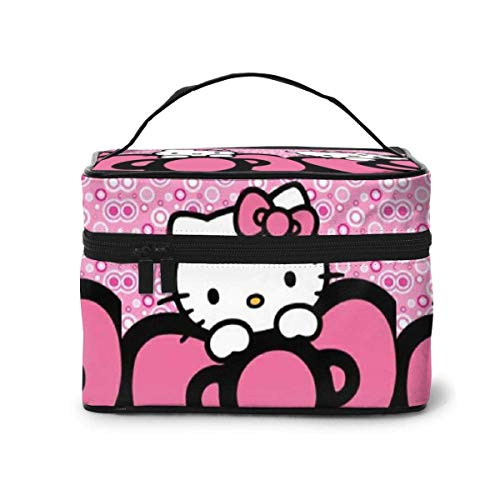 Makeup Bag, Pink Kitty Travel Portable Cosmetic Bag Large Pouch Mesh B Organizer Toiletry Bag for Women Girls