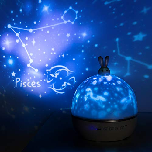 Constellation Lamp, Christmas Birthday Gift Kids Girl Planetarium Baby Bedroom Cute Nursery Battery Music Night Light Bluetooth Timer, Star Ceiling Universe Space Projector - 20 Set of Films (Remote)