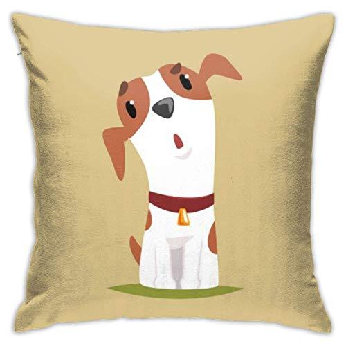 Sdltkhy Funda de Almohada Funny Jack Russell Puppy Character Cute Terrier 18'x18 Fundas de Almohada estándar Cojín de poliéster Agradable para la Piel Co
