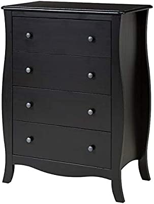 Shilpi Handicrafts Solid Wood Chest of Drawers/Bedside Table in Black Finish