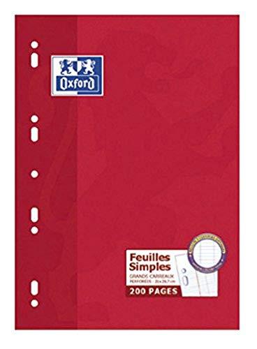 Oxford Etui Feuilles Simples Perforées A4 200 Pages Seyès