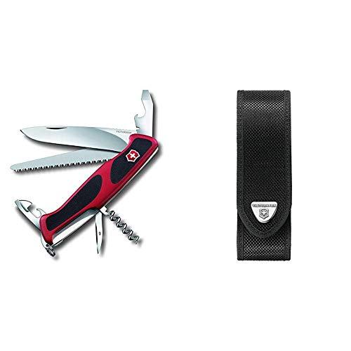 Victorinox Taschenmesser Ranger Grip 55 (12 Funktionen, Feststellklinge, Säge) rot/schwarz & V4.0506.N Mantel, schwarz, One Size