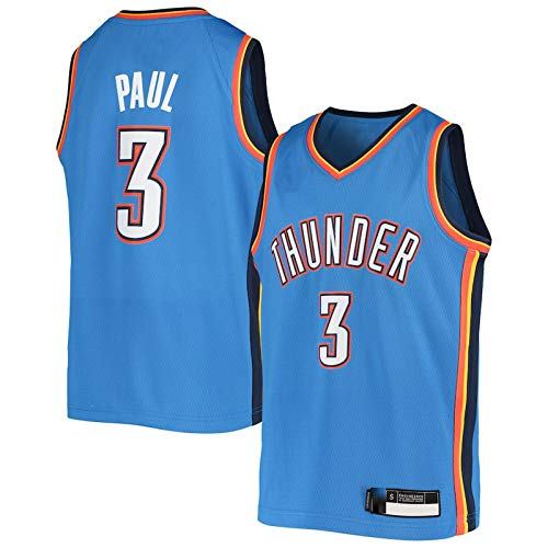 MLSON Jersey de baloncesto 3 # Kids Blue Chris Fan Paul transpirable City Baloncesto Thunder Oklahoma Jersey Home Cool Jersey tejido retro chaleco deportivo