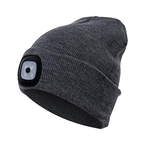 HMYXBMS Sombrero con luz, USB recargable LED Beanie sombrero_A15 - - Medium