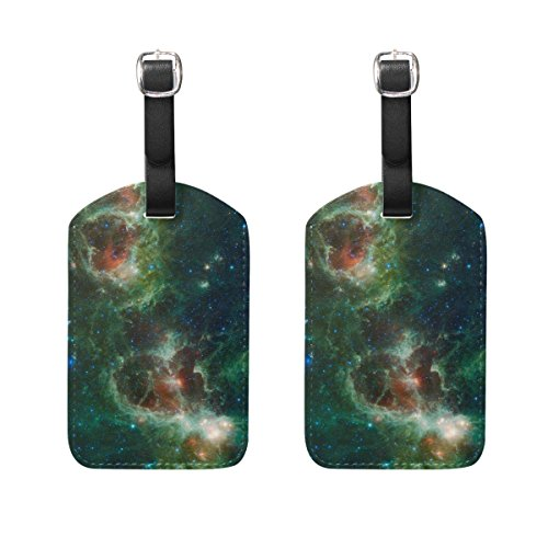 Set of 2 Luggage Tags Cosmos Nebula Star Field Suitcase Labels Travel Accessory