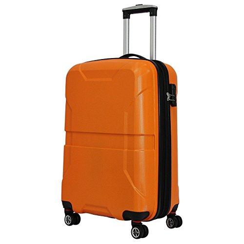 100{2fe4a2c321079940bf269b55b39d1d4c61f4f3eefda502f637ae201e83f75e63} PC Hartschalenkoffer Reisekoffer M Trolley Hartschale Koffer Case Handgepäck (M (Handgepäck), Orange)