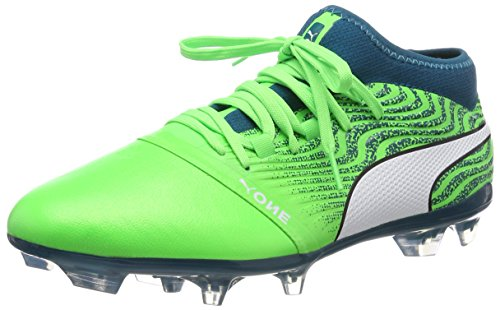 PUMA One 18.2 FG Men's Leather Soccer Cleats-Green-12.5