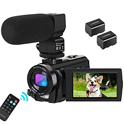Camcorder Video Camera Digital YouTube Vlogging Camera HD 1080P 30FPS 24MP 16X Digital Zoom 3 Inch LCD Flip Screen Video Recorder with Microphone and Remote Control, 2 Batteries from Aabeloy