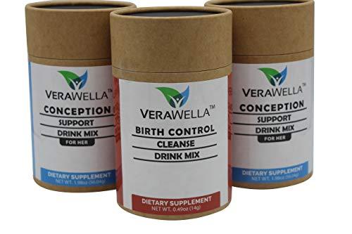 VeraWella Birth Control Cleanse & Conception Support Drink for Women – Fertility & Hormonal Balance Prenatal Vitamin Supplement - Folate Folic Acid to Aid Ovulation & Healthy Pregnancy