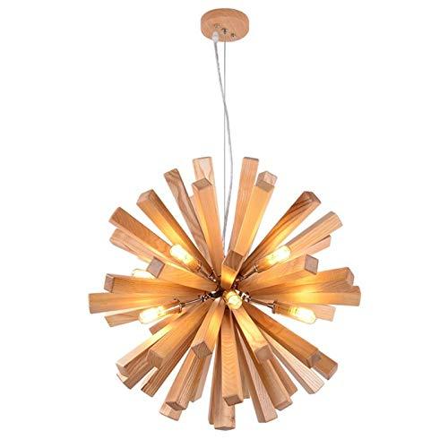 LIUYU Luz LED Colgante de Madera de Diente de león Que cuelga de la lámpara Pendiente Moderna Lámparas de Techo Loft nórdica Cocina Industrial Base Ligera (Body Color : Dia.72cm 30W, Size : Gratis)