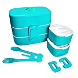 Lunch Box - Durable Leak-Proof Dishwasher Microwave Freezer Safe 3-Compartment Hermetic Bento Box